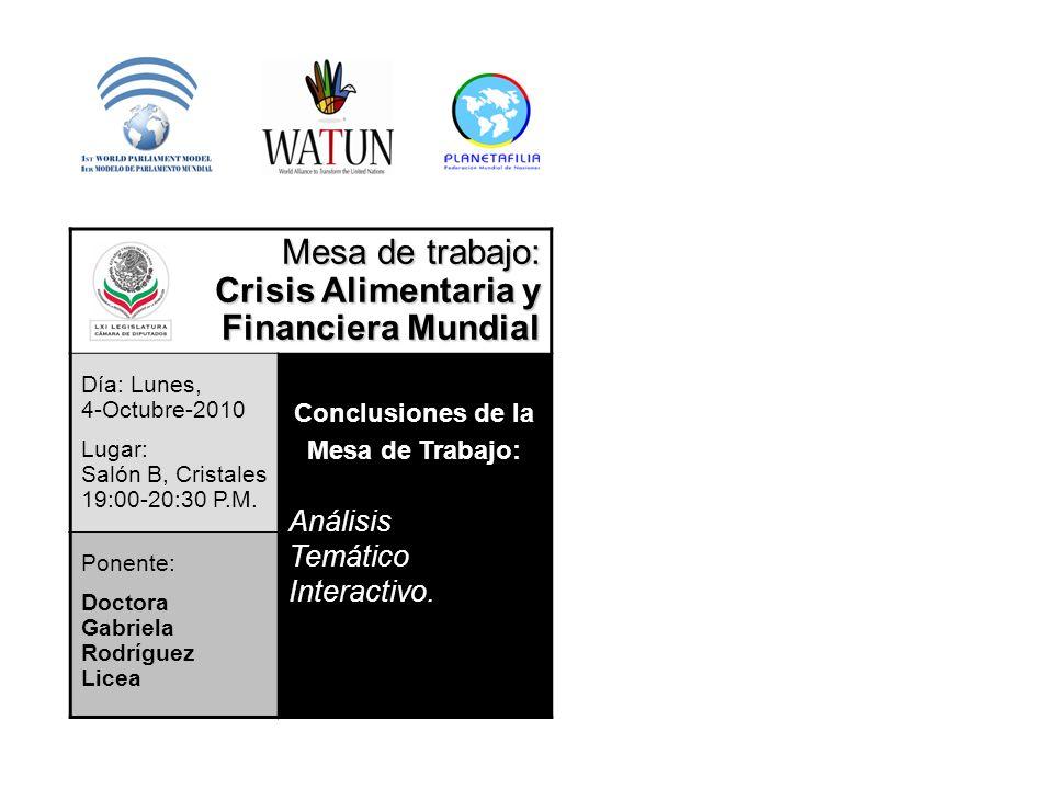 Mesa de trabajo: Crisis Alimentaria y Financiera Mundial Día: Lunes, 4-Octubre-2010 Lugar: Salón B, Cristales 19:00-20:30 P.M. Conclusiones de la Mesa