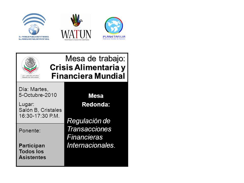 Mesa de trabajo: Crisis Alimentaria y Financiera Mundial Día: Martes, 5-Octubre-2010 Lugar: Salón B, Cristales 16:30-17:30 P.M.