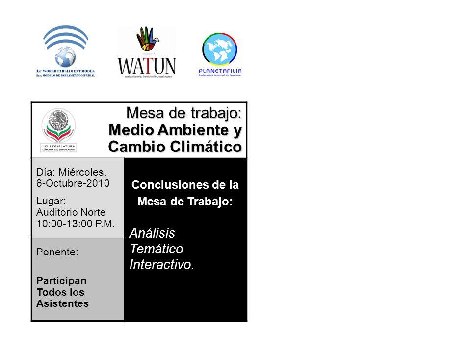 Mesa de trabajo: Medio Ambiente y Cambio Climático Día: Miércoles, 6-Octubre-2010 Lugar: Auditorio Norte 10:00-13:00 P.M. Conclusiones de la Mesa de T