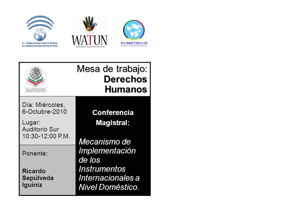 Mesa de trabajo: DerechosHumanos Día: Miércoles, 6-Octubre-2010 Lugar: Auditorio Sur 10:30-12:00 P.M. Conferencia Magistral: Mecanismo de Implementaci