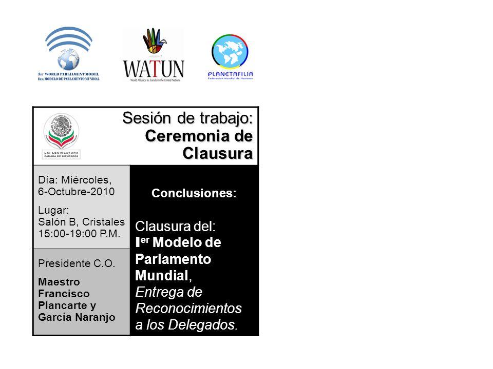 Sesión de trabajo: Ceremonia de Clausura Día: Miércoles, 6-Octubre-2010 Lugar: Salón B, Cristales 15:00-19:00 P.M. Conclusiones: Clausura del: I er Mo