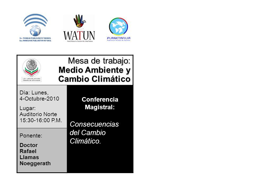Mesa de trabajo: Medio Ambiente y Cambio Climático Día: Lunes, 4-Octubre-2010 Lugar: Auditorio Norte 15:30-16:00 P.M. Conferencia Magistral: Consecuen