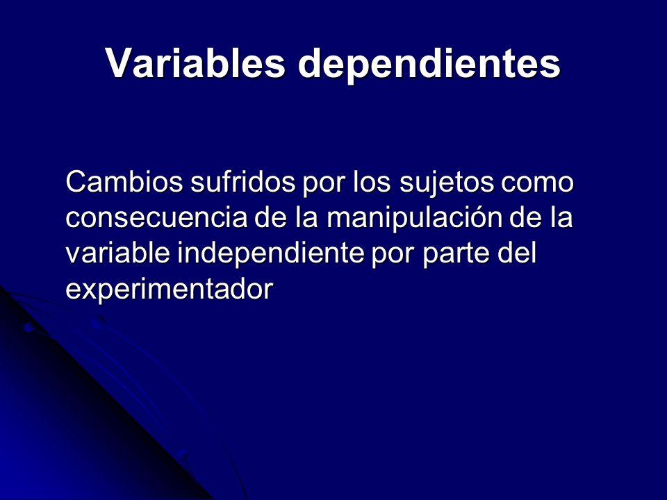 Variables dependientes Cambios sufridos por los sujetos como consecuencia de la manipulación de la variable independiente por parte del experimentador