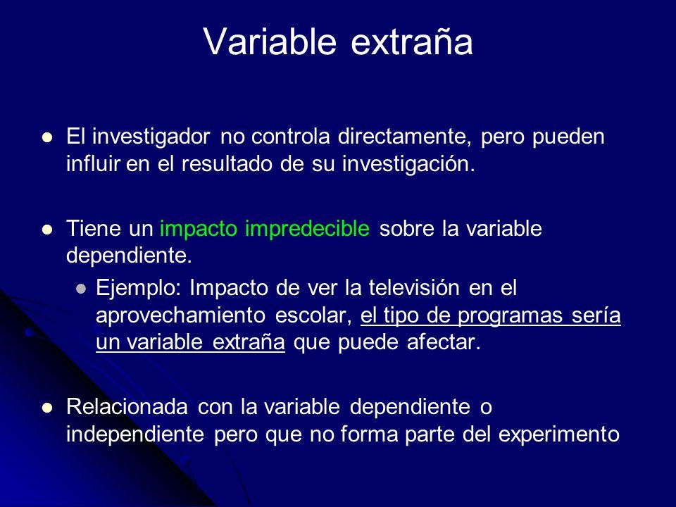 Variable extraña El investigador no controla directamente, pero pueden influir en el resultado de su investigación. Tiene un impacto impredecible sobr