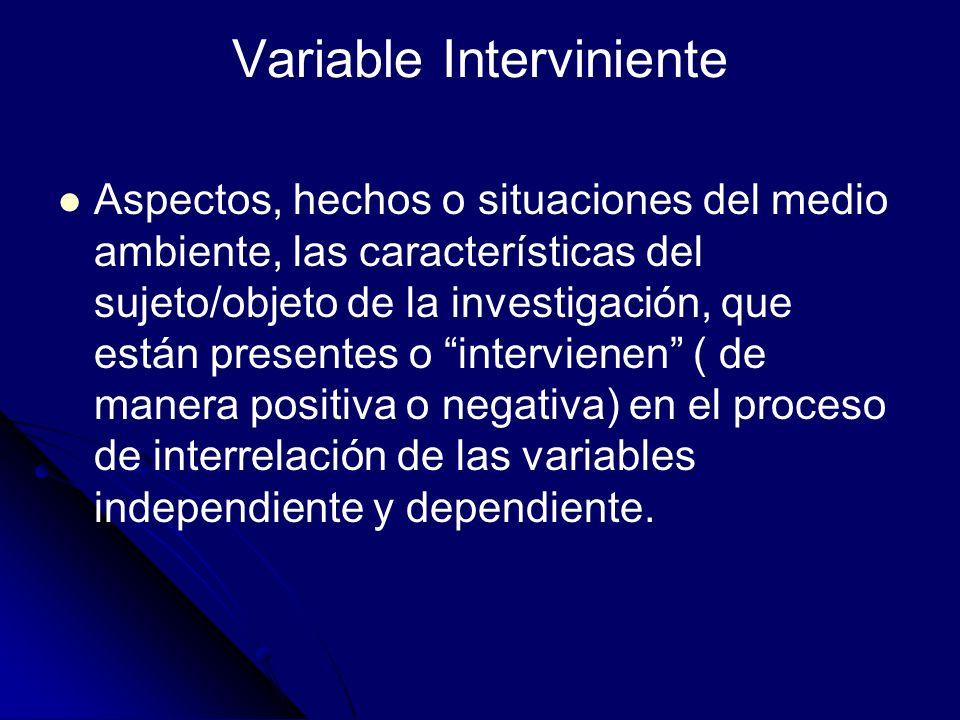 Variable Interviniente Aspectos, hechos o situaciones del medio ambiente, las características del sujeto/objeto de la investigación, que están present