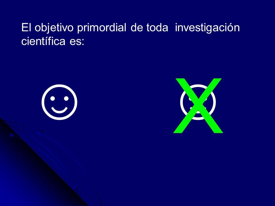 El objetivo primordial de toda investigación científica es: X