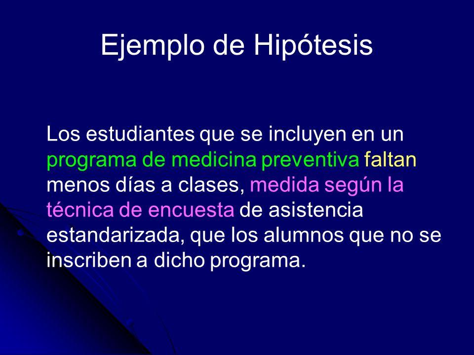 Ejemplo de Hipótesis Los estudiantes que se incluyen en un programa de medicina preventiva faltan menos días a clases, medida según la técnica de encu