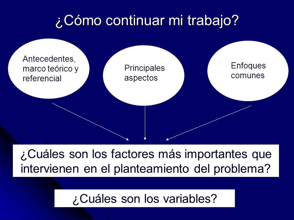 ¿Cómo continuar mi trabajo? Antecedentes, marco teórico y referencial Enfoques comunes ¿Cuáles son los factores más importantes que intervienen en el