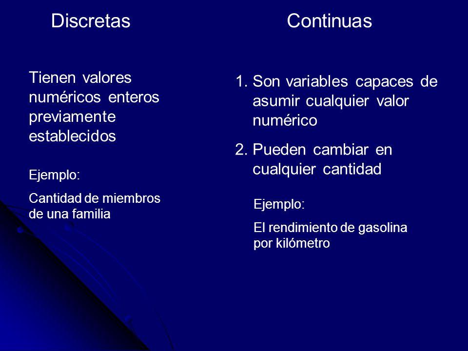 Discretas Tienen valores numéricos enteros previamente establecidos Continuas 1.Son variables capaces de asumir cualquier valor numérico 2.Pueden camb