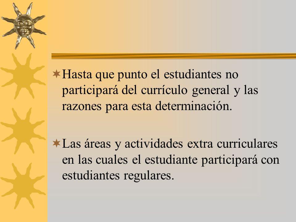 Programa de Servicios Nivel de funcionamiento Meta Objetivo Información de progreso Resumen de logros Grado que cursará el estudiante durante la impla