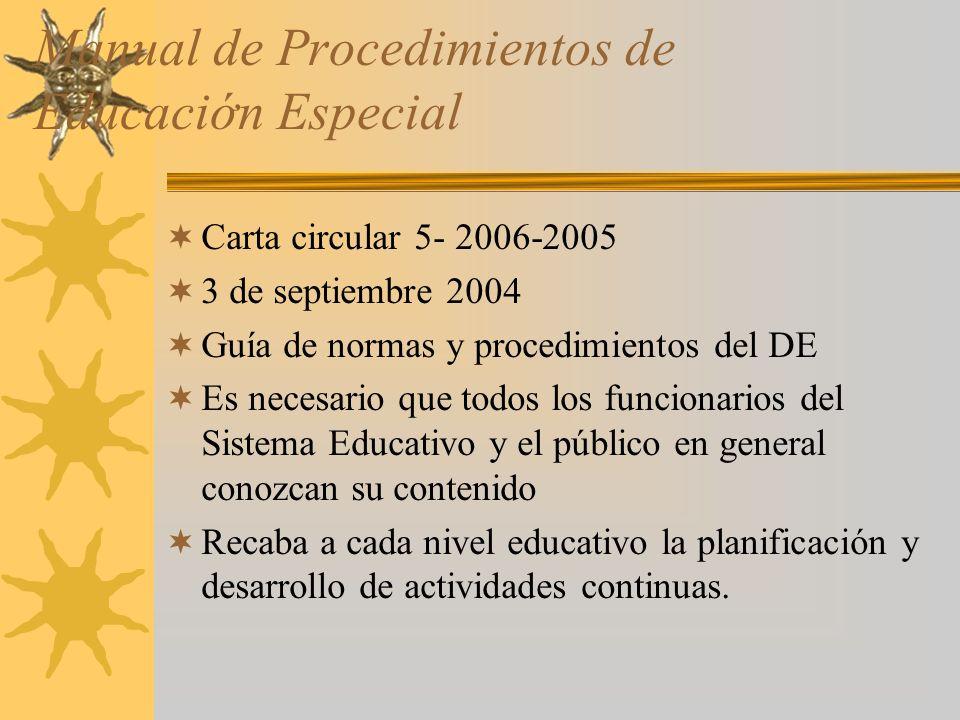 Manual de Procedimientos de Educacin Especial Carta circular 5- 2006-2005 3 de septiembre 2004 Guía de normas y procedimientos del DE Es necesario que todos los funcionarios del Sistema Educativo y el público en general conozcan su contenido Recaba a cada nivel educativo la planificación y desarrollo de actividades continuas.