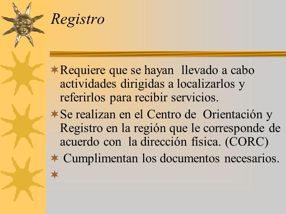 Registro Requiere que se hayan llevado a cabo actividades dirigidas a localizarlos y referirlos para recibir servicios.