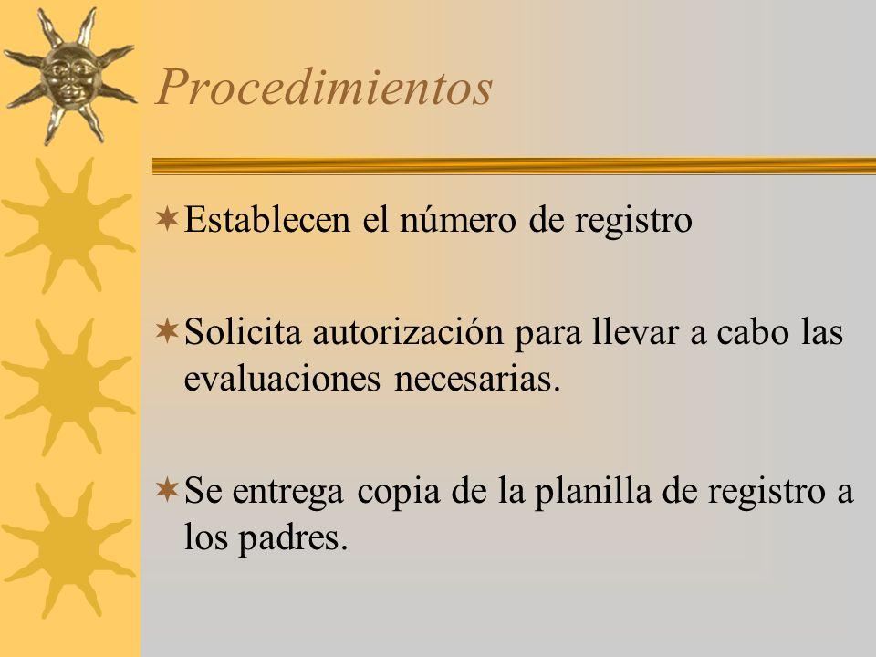 Procedimientos Establecen el número de registro Solicita autorización para llevar a cabo las evaluaciones necesarias.