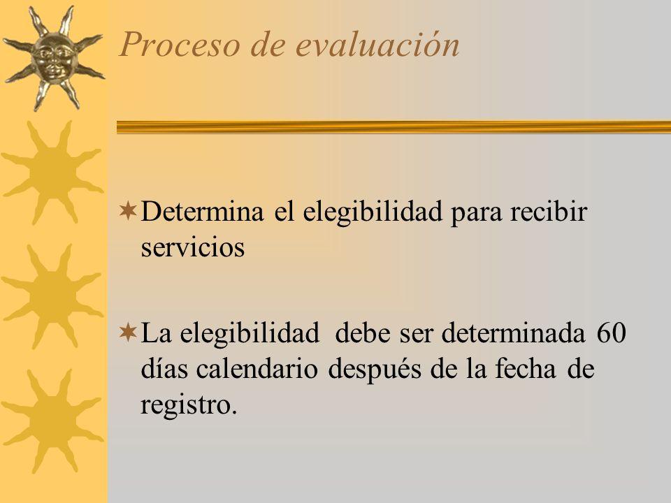 Proceso de evaluación Determina el elegibilidad para recibir servicios La elegibilidad debe ser determinada 60 días calendario después de la fecha de registro.