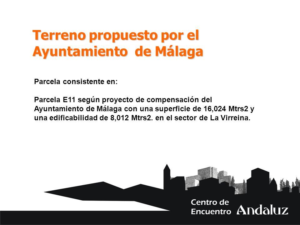 Terreno propuesto por el Ayuntamiento de Málaga Parcela consistente en: Parcela E11 según proyecto de compensación del Ayuntamiento de Málaga con una superficie de 16,024 Mtrs2 y una edificabilidad de 8,012 Mtrs2.