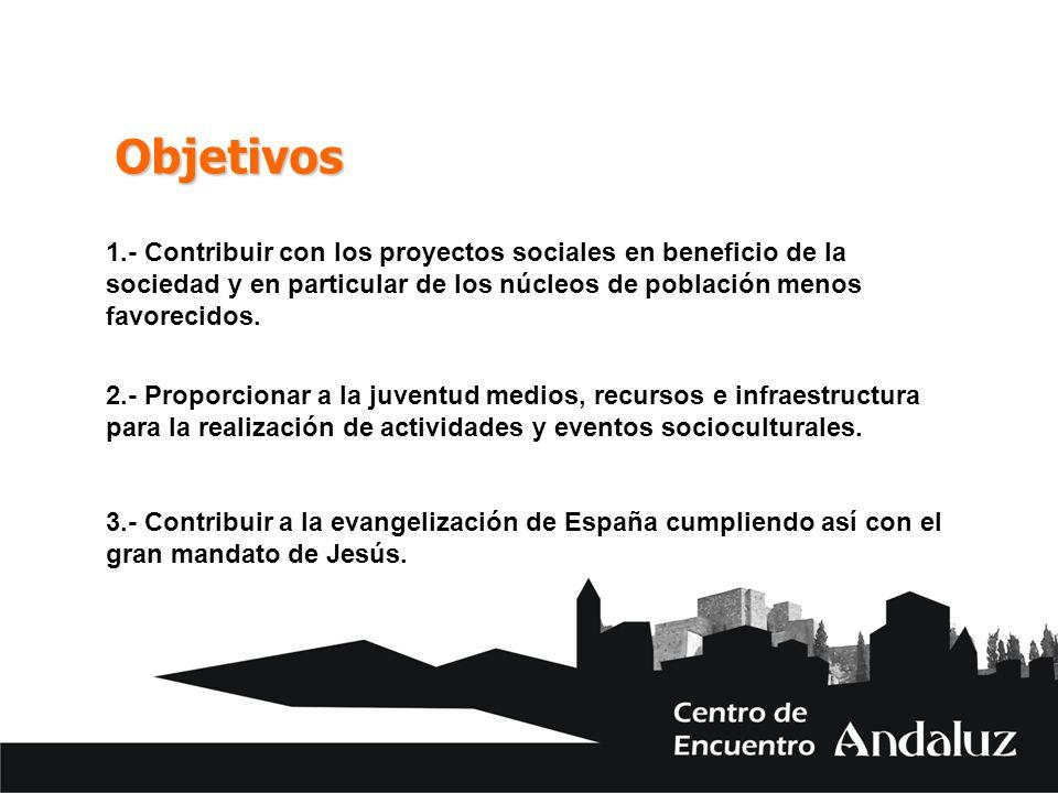 Objetivos 1.- Contribuir con los proyectos sociales en beneficio de la sociedad y en particular de los núcleos de población menos favorecidos. 2.- Pro