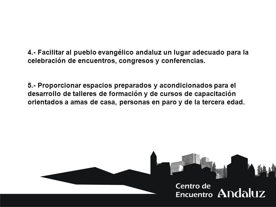 4.- Facilitar al pueblo evangélico andaluz un lugar adecuado para la celebración de encuentros, congresos y conferencias. 5.- Proporcionar espacios pr