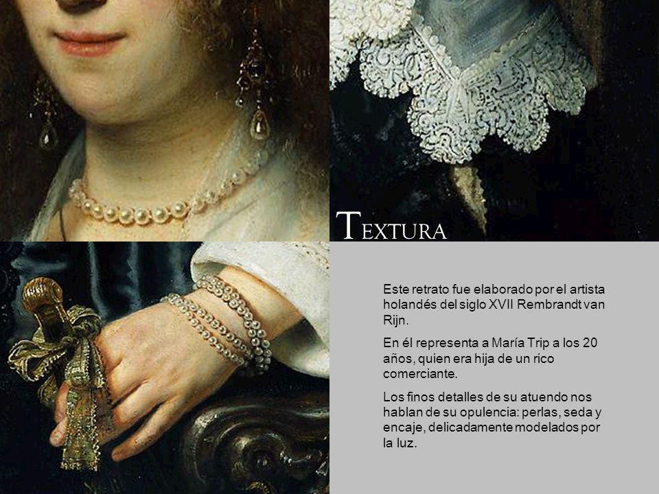 Este retrato fue elaborado por el artista holandés del siglo XVII Rembrandt van Rijn. En él representa a María Trip a los 20 años, quien era hija de u