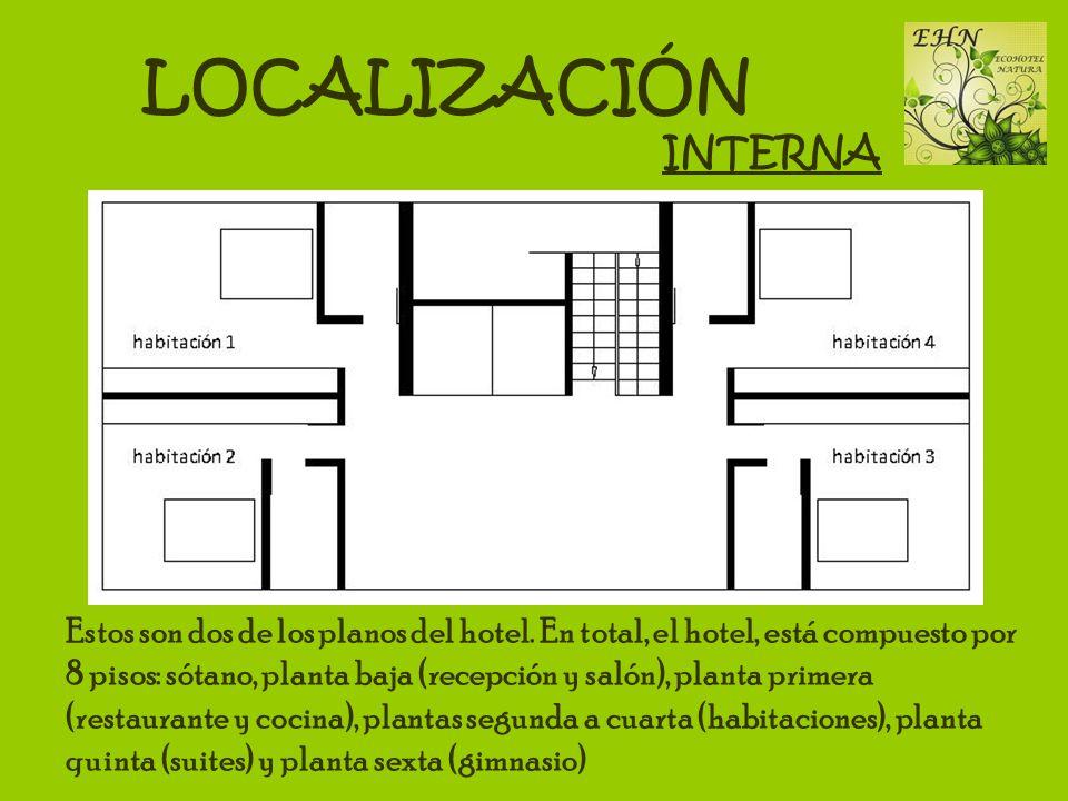 LOCALIZACIÓN INTERNA Estos son dos de los planos del hotel. En total, el hotel, está compuesto por 8 pisos: sótano, planta baja (recepción y salón), p