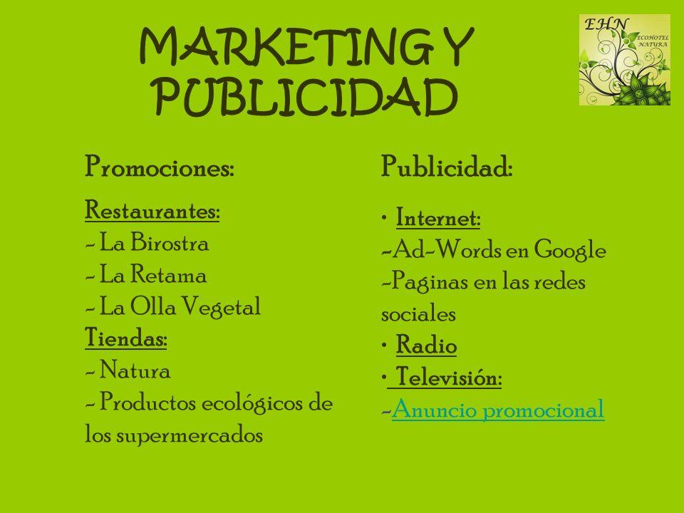 MARKETING Y PUBLICIDAD Publicidad: Internet: -Ad-Words en Google -Paginas en las redes sociales Radio Televisión: -Anuncio promocionalAnuncio promocio