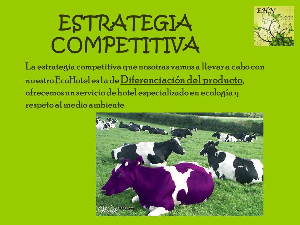 ESTRATEGIA COMPETITIVA La estrategia competitiva que nosotras vamos a llevar a cabo con nuestro EcoHotel es la de Diferenciación del producto, ofrecem