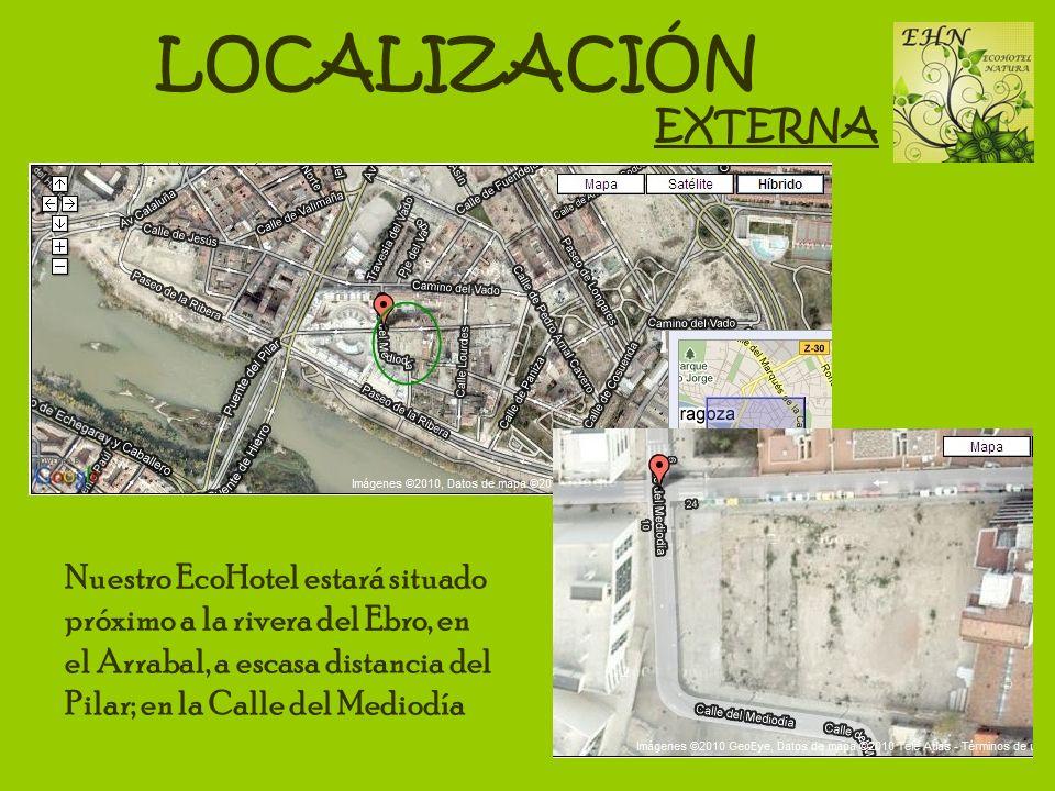 LOCALIZACIÓN Nuestro EcoHotel estará situado próximo a la rivera del Ebro, en el Arrabal, a escasa distancia del Pilar; en la Calle del Mediodía EXTER