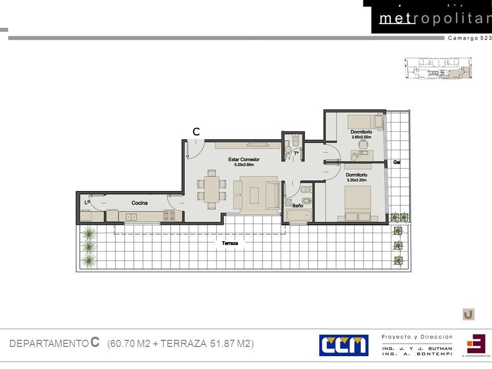 DEPARTAMENTO C (60.70 M2 + TERRAZA 51.87 M2)