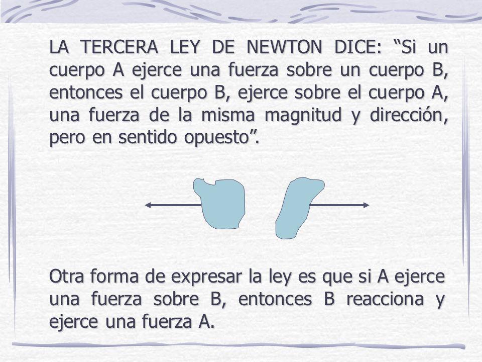 LA TERCERA LEY DE NEWTON DICE: Si un cuerpo A ejerce una fuerza sobre un cuerpo B, entonces el cuerpo B, ejerce sobre el cuerpo A, una fuerza de la misma magnitud y dirección, pero en sentido opuesto.