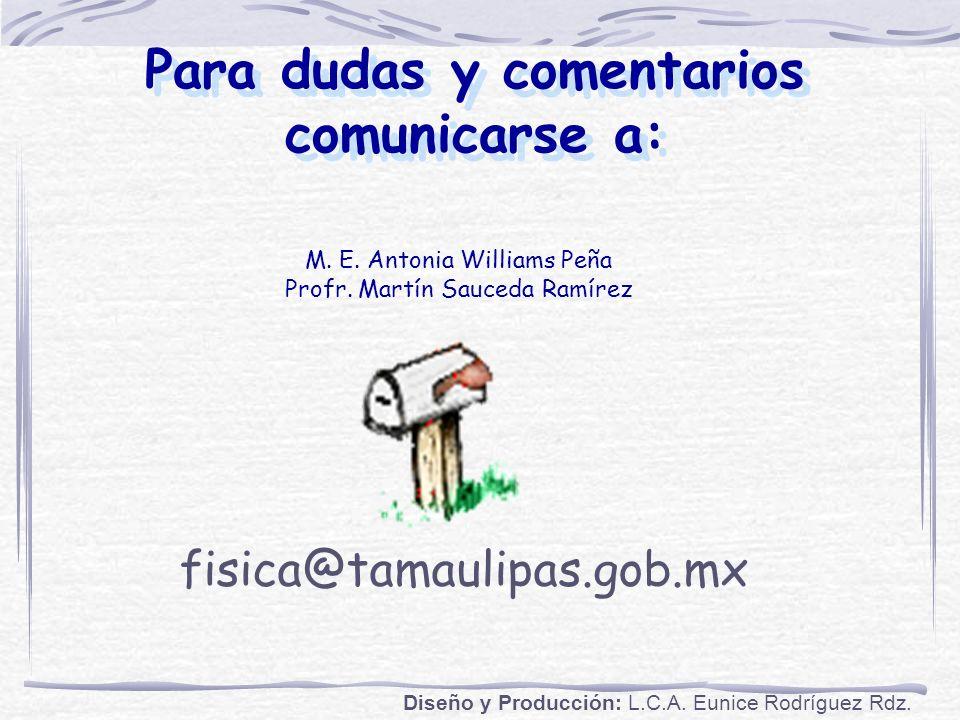 Para dudas y comentarios comunicarse a: M.E. Antonia Williams Peña Profr.