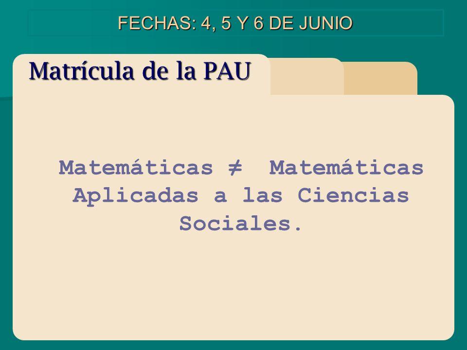 Matemáticas Matemáticas Aplicadas a las Ciencias Sociales. FECHAS: 4, 5 Y 6 DE JUNIO Matrícula de la PAU
