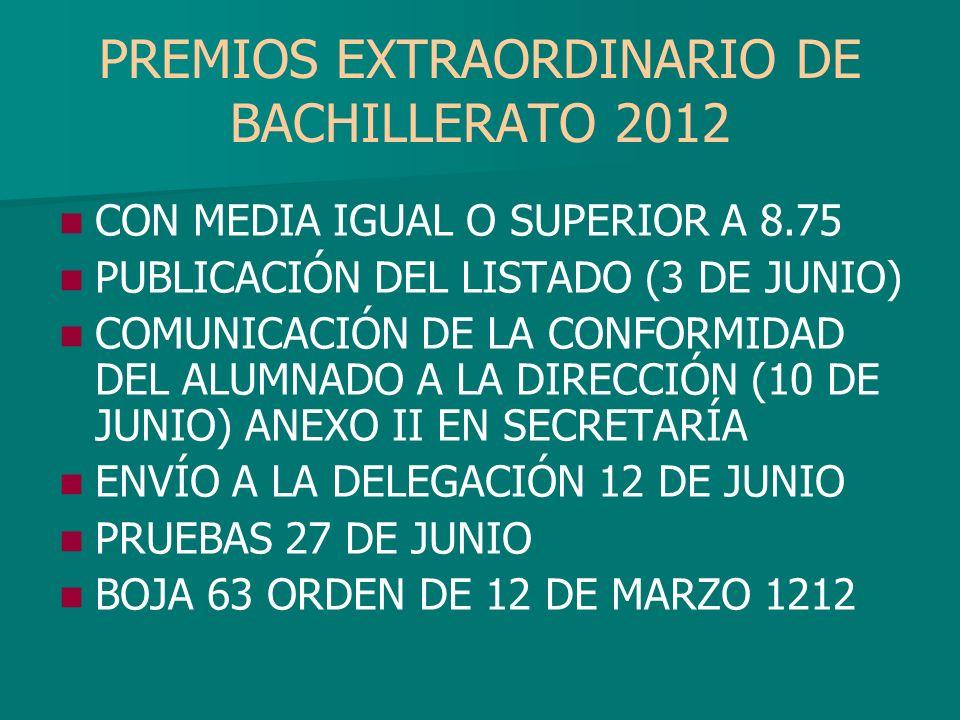 PREMIOS EXTRAORDINARIO DE BACHILLERATO 2012 CON MEDIA IGUAL O SUPERIOR A 8.75 PUBLICACIÓN DEL LISTADO (3 DE JUNIO) COMUNICACIÓN DE LA CONFORMIDAD DEL