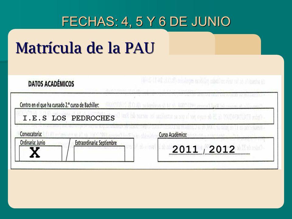 FECHAS: 4, 5 Y 6 DE JUNIO I.E.S LOS PEDROCHES X 20112012 Matrícula de la PAU