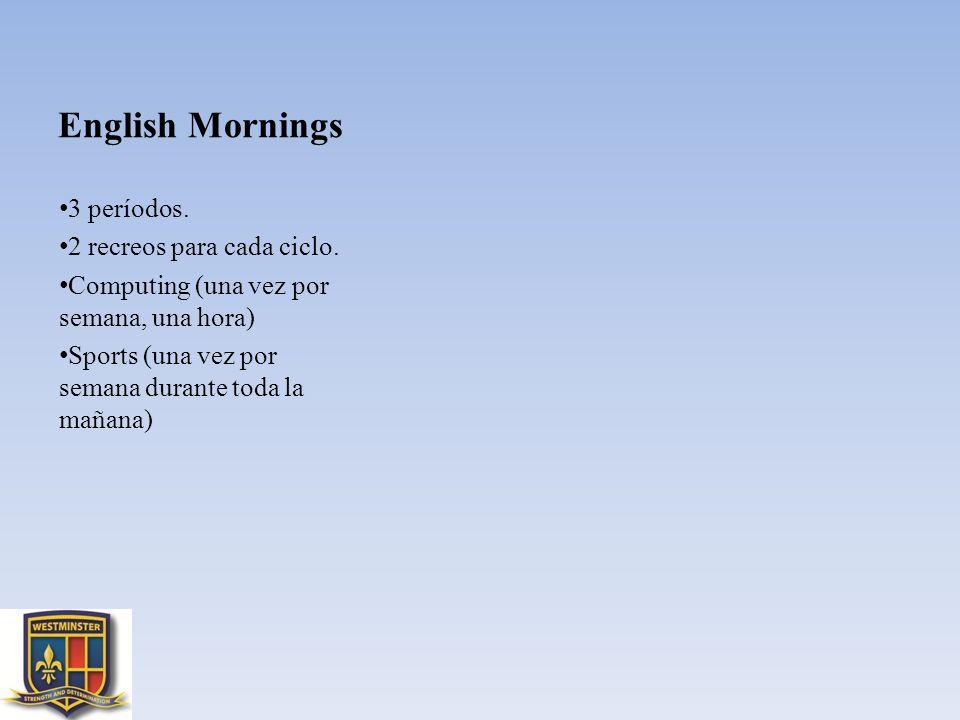 English Mornings 3 períodos. 2 recreos para cada ciclo. Computing (una vez por semana, una hora) Sports (una vez por semana durante toda la mañana)