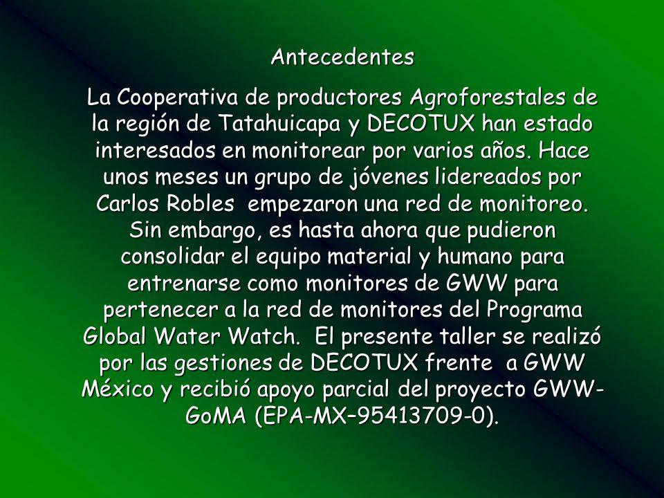 Antecedentes La Cooperativa de productores Agroforestales de la región de Tatahuicapa y DECOTUX han estado interesados en monitorear por varios años.