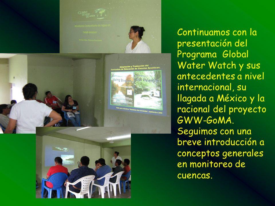 Continuamos con la presentación del Programa Global Water Watch y sus antecedentes a nivel internacional, su llagada a México y la racional del proyecto GWW-GoMA.