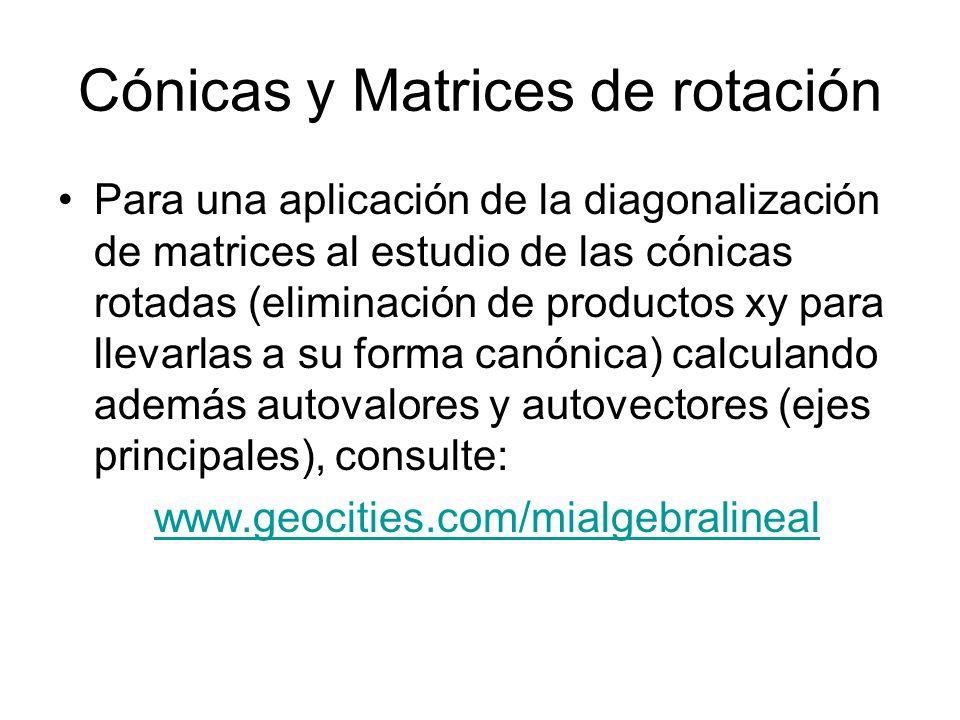 Cónicas y Matrices de rotación Para una aplicación de la diagonalización de matrices al estudio de las cónicas rotadas (eliminación de productos xy pa