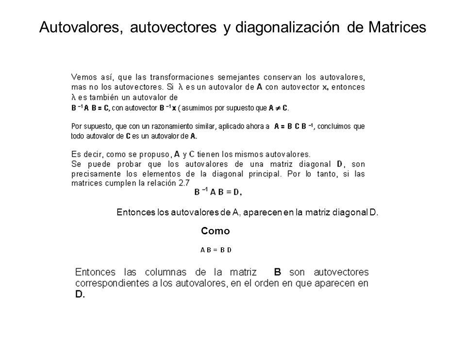 Entonces los autovalores de A, aparecen en la matriz diagonal D. Como