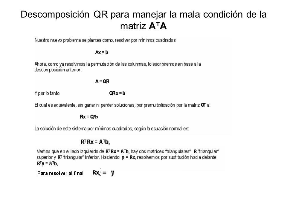 Descomposición QR para manejar la mala condición de la matriz A T A