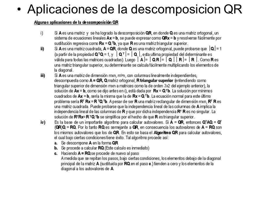 Aplicaciones de la descomposicion QR