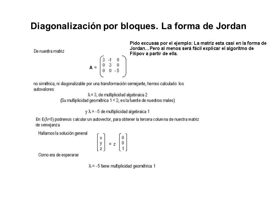 Diagonalización por bloques. La forma de Jordan