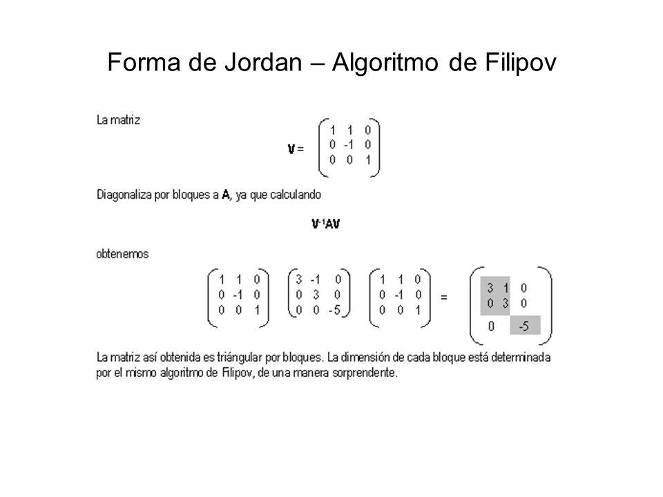 Forma de Jordan – Algoritmo de Filipov