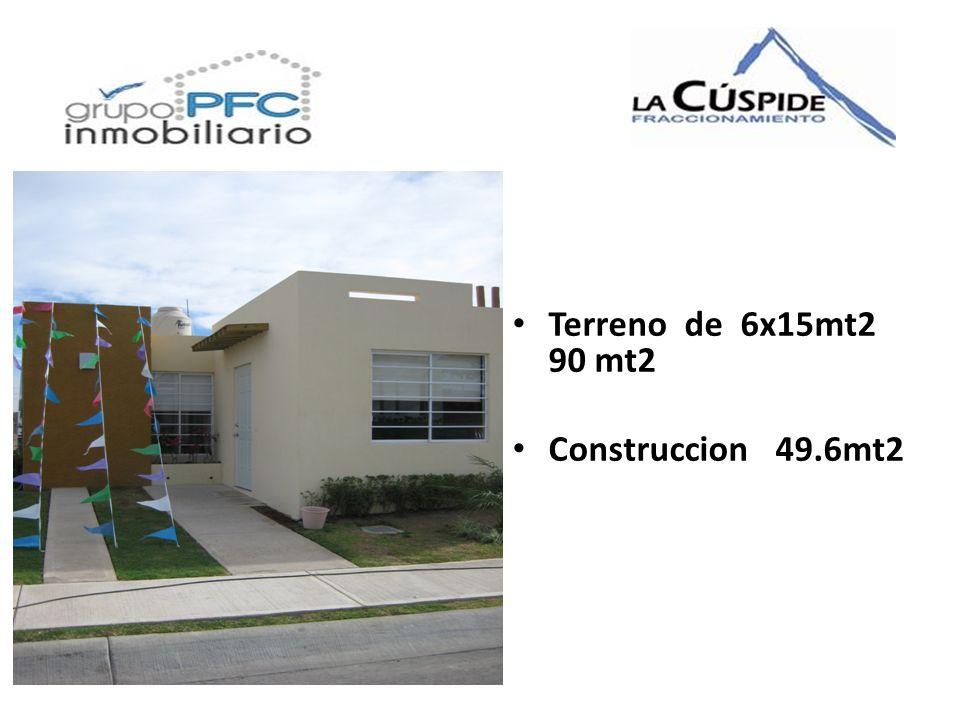 Terreno de 6x15mt2 90 mt2 Construccion 49.6mt2