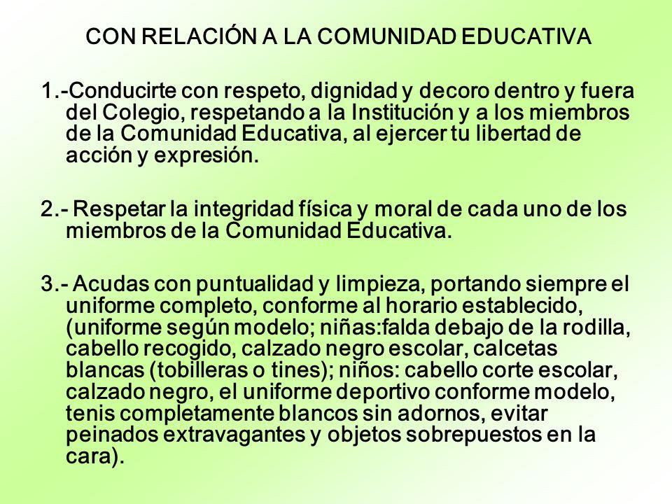 CON RELACIÓN A LA COMUNIDAD EDUCATIVA 1.-Conducirte con respeto, dignidad y decoro dentro y fuera del Colegio, respetando a la Institución y a los mie