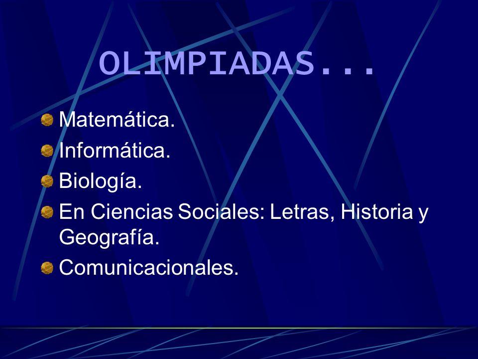 Materias Comunes entre 4°, 5° y 6°... Lengua. Inglés. Matemática. Formación Artística y Cultural. Historia. Formación Ética y Humanidades. Física. Bio