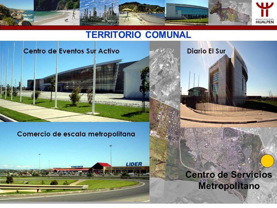 TERRITORIO COMUNAL Centro de Servicios Metropolitano Centro de Eventos Sur ActivoDiario El Sur Comercio de escala metropolitana