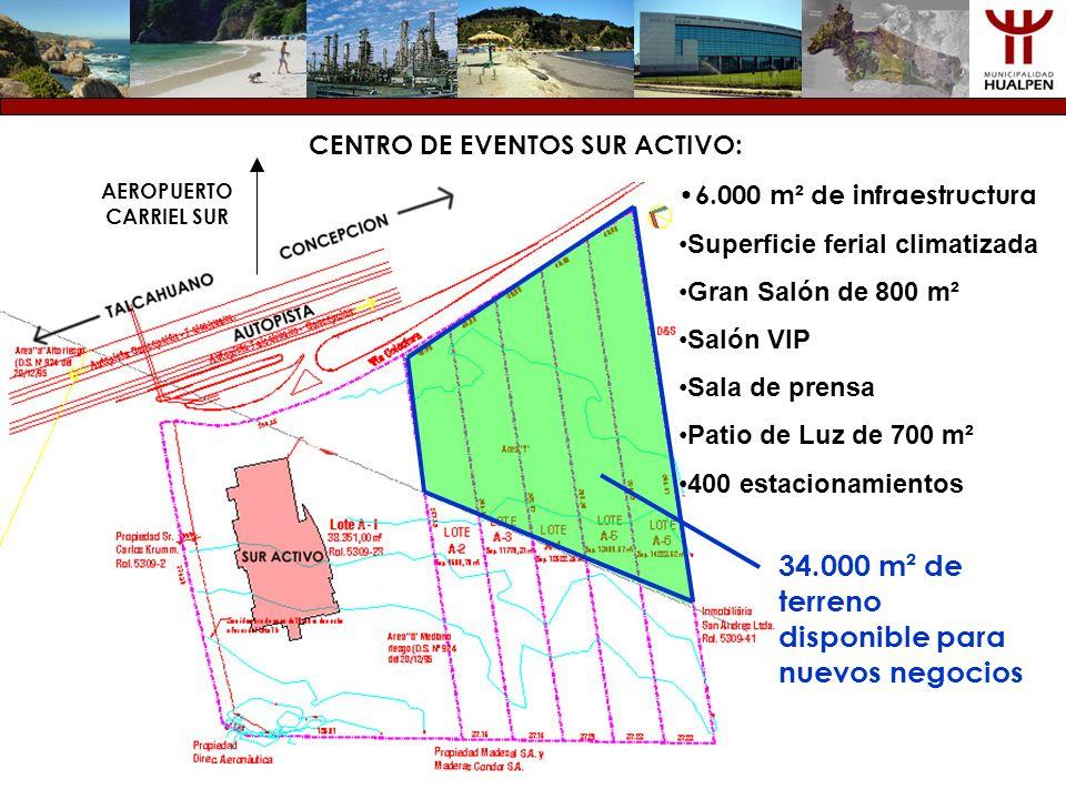 CENTRO DE EVENTOS SUR ACTIVO: 6.000 m ² de infraestructura Superficie ferial climatizada Gran Salón de 800 m² Salón VIP Sala de prensa Patio de Luz de