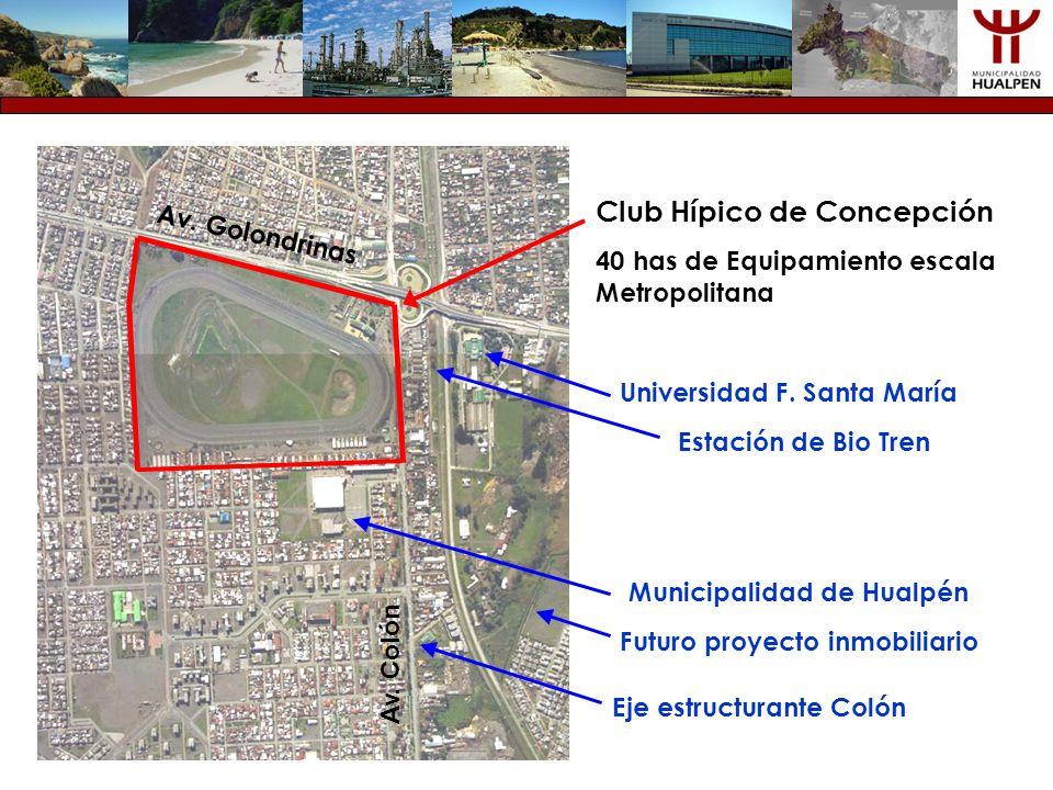 Club Hípico de Concepción 40 has de Equipamiento escala Metropolitana Av. Golondrinas Av. Colón Eje estructurante Colón Universidad F. Santa María Est