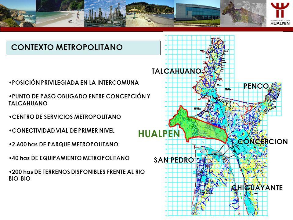CONTEXTO METROPOLITANO POSICIÓN PRIVILEGIADA EN LA INTERCOMUNA PUNTO DE PASO OBLIGADO ENTRE CONCEPCIÓN Y TALCAHUANO CENTRO DE SERVICIOS METROPOLITANO
