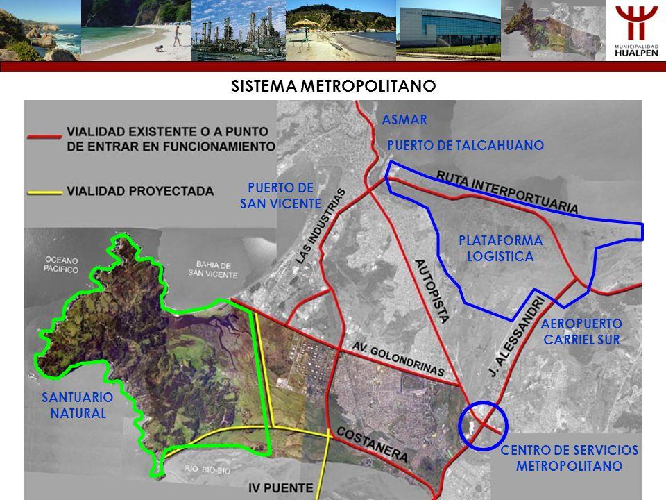 SISTEMA METROPOLITANO PUERTO DE TALCAHUANO PUERTO DE SAN VICENTE ASMAR AEROPUERTO CARRIEL SUR PLATAFORMA LOGISTICA CENTRO DE SERVICIOS METROPOLITANO S