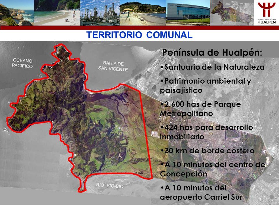 TERRITORIO COMUNAL Península de Hualpén: Santuario de la Naturaleza Patrimonio ambiental y paisajístico 2.600 has de Parque Metropolitano 424 has para